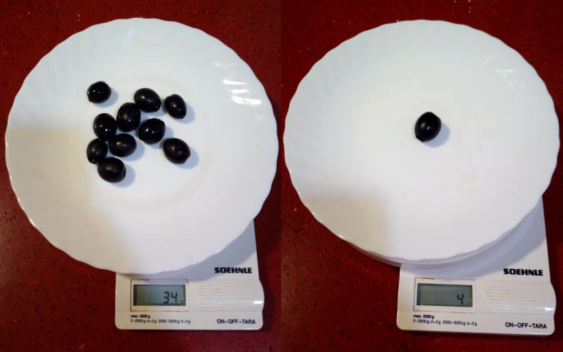 Cuanto pesa una aceituna negra