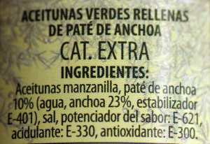 Ingredientes aceitunas con anchoa