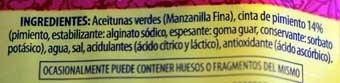 Ingredientes aceitunas con pimiento