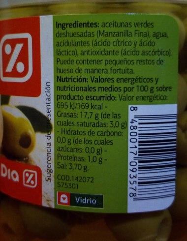 Aceitunas verdes sin hueso de 169 calorias