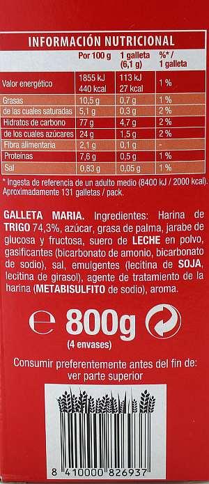 Ingredientes galletas María Fontaneda