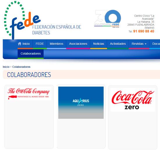 Difusión de Coca Cola en la web de FEDE a cambio de dinero