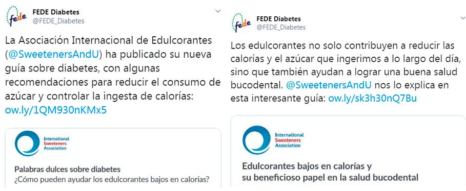 Tweets de FEDE promocionando ISA